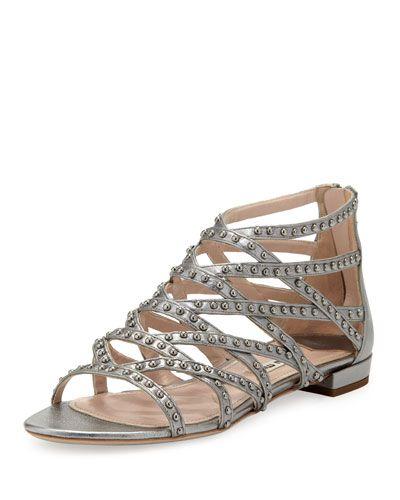 3444cf03647 X1ZN2 Miu Miu Studded Metallic Gladiator Sandal