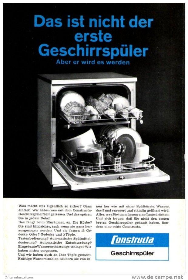 OriginalWerbung/ Anzeige 1965 CONSTRUCTA GESCHIRRSPÜLER