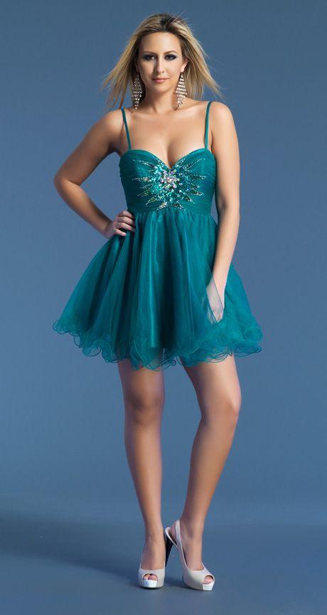 Spaghetti Strap Mini Green Tulle A Line Party/Graduation Dress