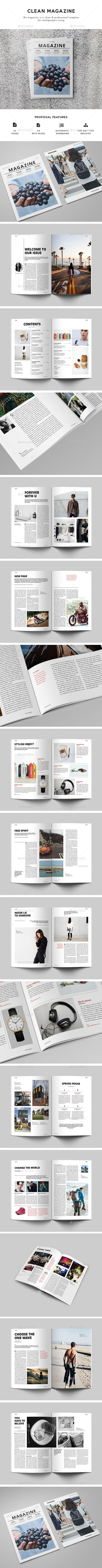 Clean Magazine Template | Layouts, Magazines and Magazine layouts