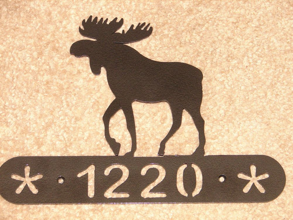 Moose Metal Home ADDRESS PLAQUE Wall Decor House Sign | House art ...