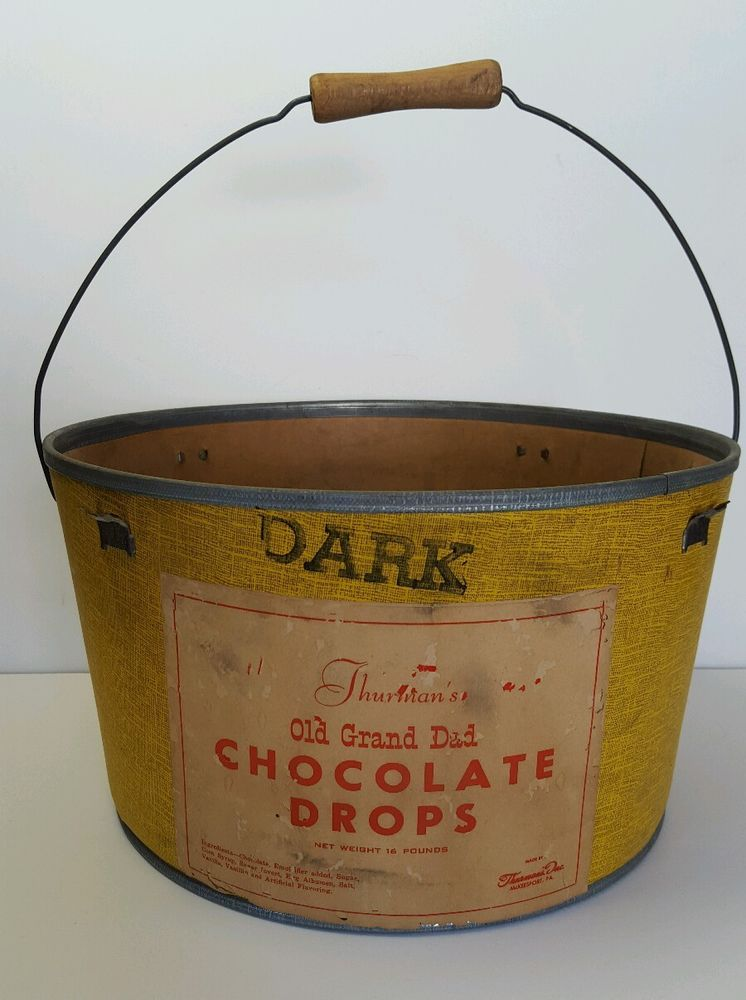 Vintage Antique 16 Lbs. Thurman's Old Grand Dad Dark Chocolate Drops Bucket Pale #Thurmans