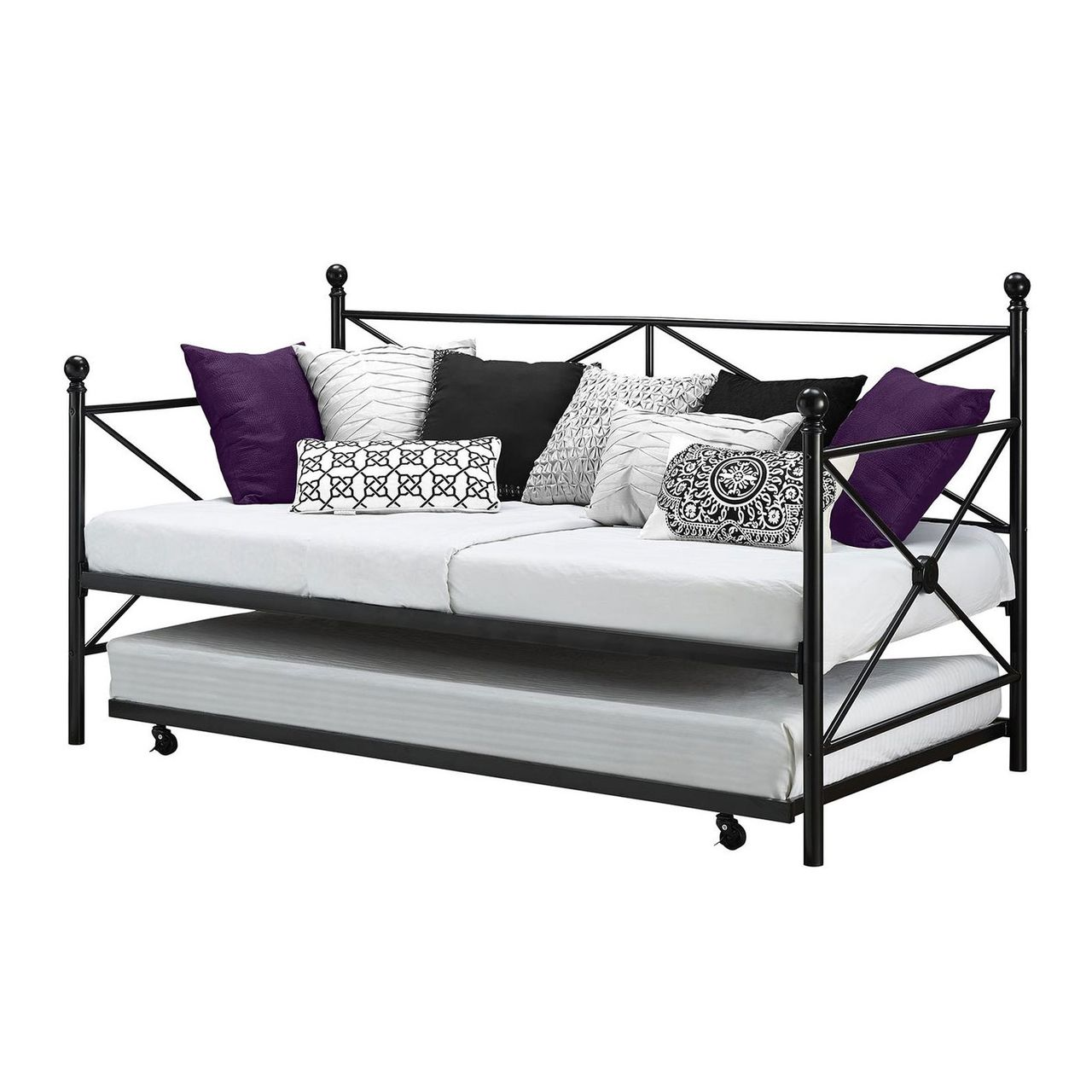 Twin Black Metal Day Bed Frame and Roll out Trundle Set