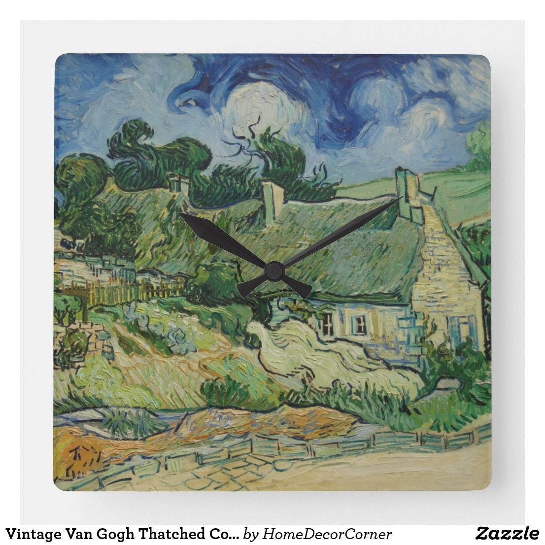 Vintage Van Gogh Thatched Cottages At Cordeville Square Wall