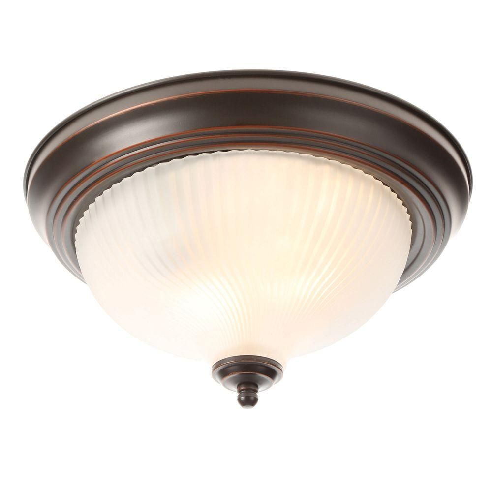 Hampton Bay 11 In 2 Light Oil Rubbed Bronze Flush Mount