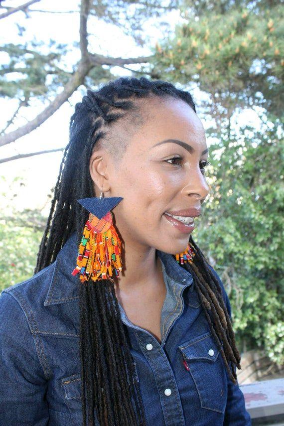 Kente Fringe Earrings African Fringe Afropunk Earr