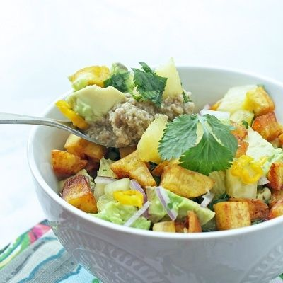 Tropical Turkey Chili (Whole 30 Compliant) - with cilantro, avocado, fresh pineapple and fried plantain.  SO. GOOD.