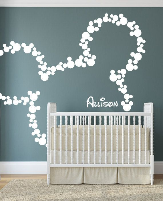 wall decal art decor mickey mouse baby name wallhappywallz this
