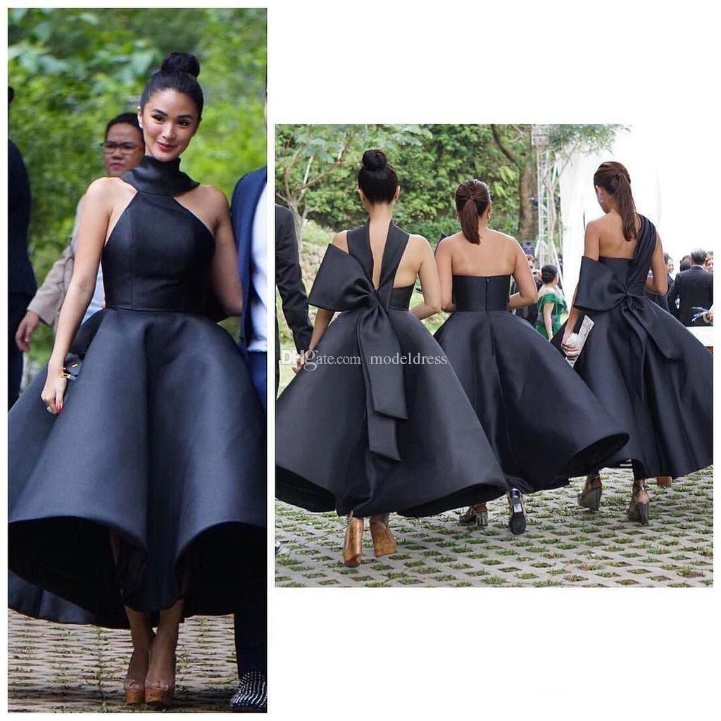 unique design tea length bridesmaid dresses halter backless big