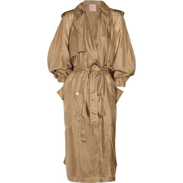 Lanvin Washed silk-taffeta trench coat ($765) ❤ liked on Polyvore featuring outerwear, coats, dresses, jackets, lanvin, long sleeve coat, brown trench coat, lanvin coat and oversized trench coat