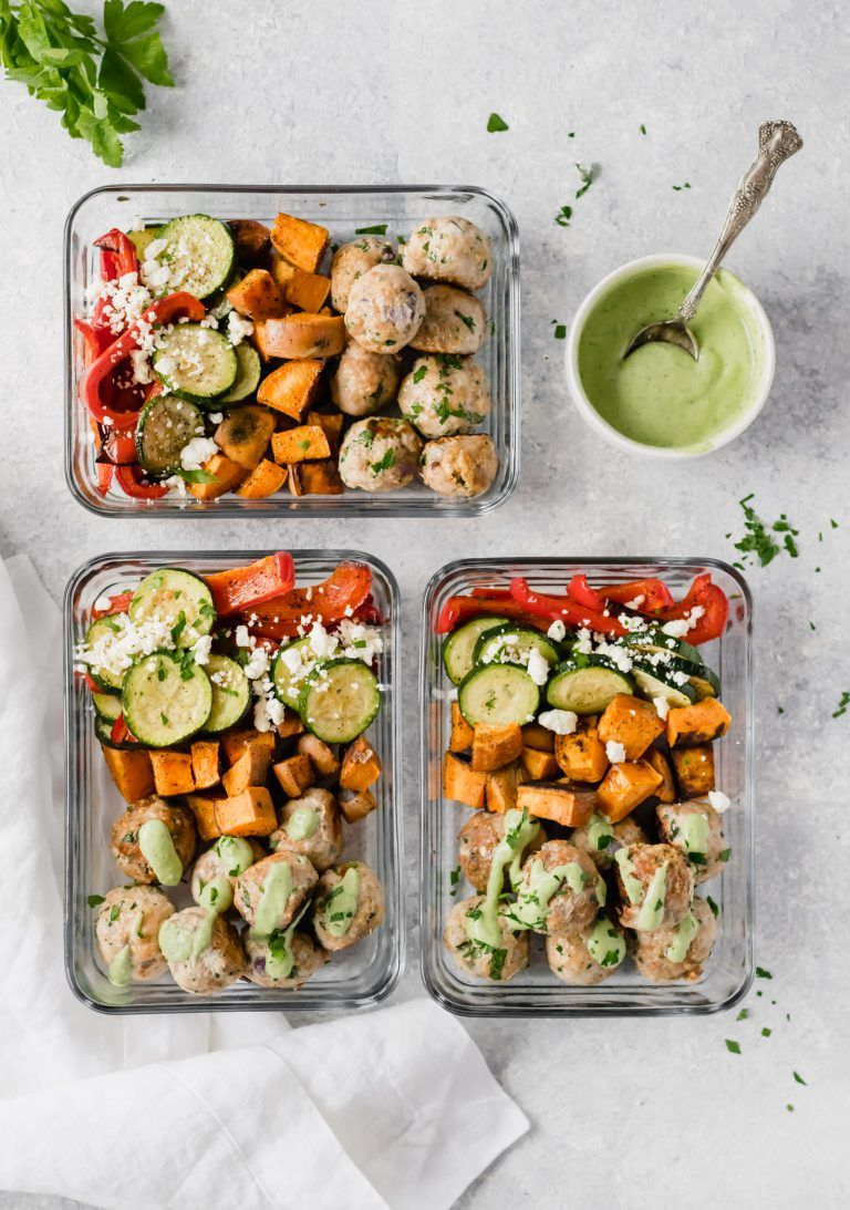 Greek Turkey Meatballs Meal Prep Bowls Recipe Food Recipes