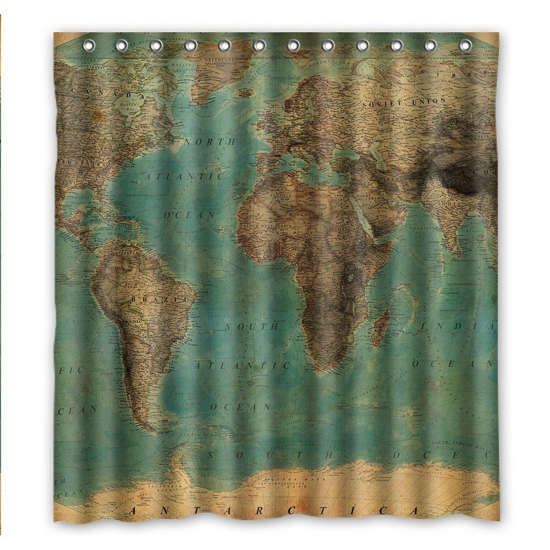 Custom fashionable vintage style world map pattern waterproof fabric custom fashionable vintage style world map pattern waterproof fabric bathroom shower curtain 66 x 72 gumiabroncs Image collections