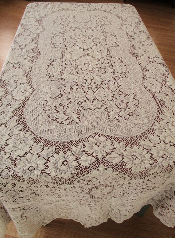 Vintage Oval Lace Tablecloth/Overlay Light By VintageLinenGallery