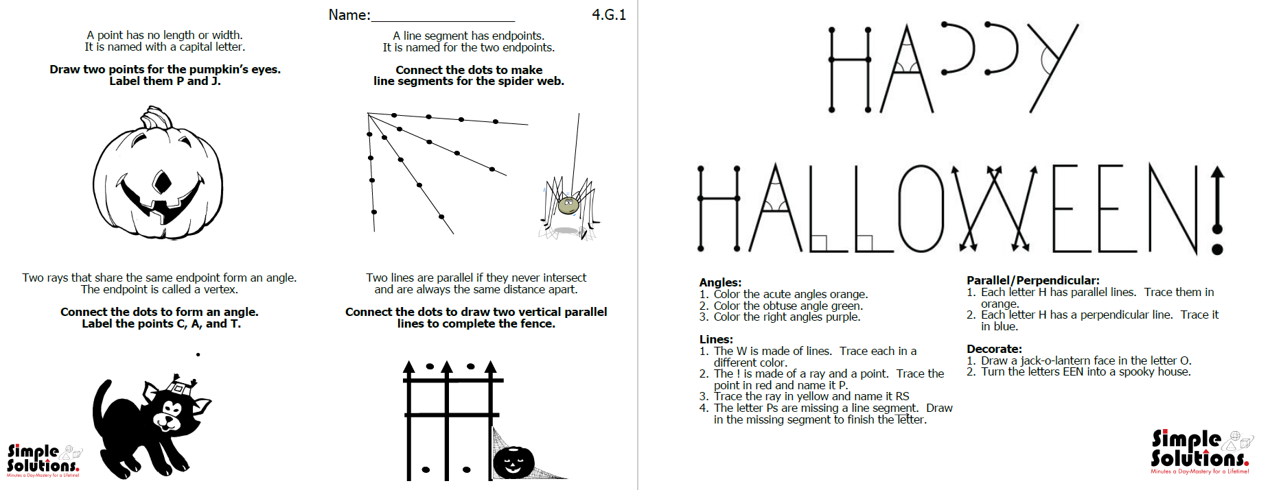 Halloween Geometry Geometry activities, Classroom