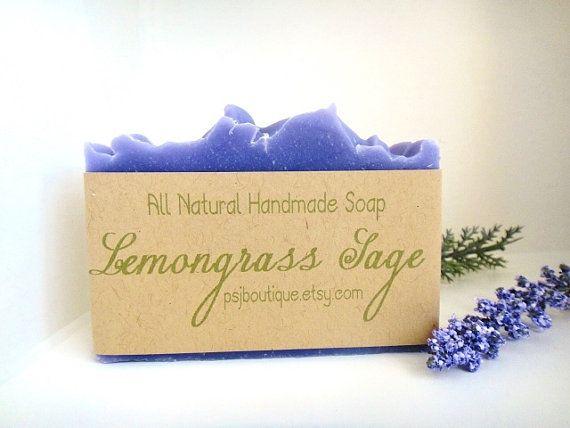 Lemongrass Sage Handmade Cold Process Soap All by PSJBoutique