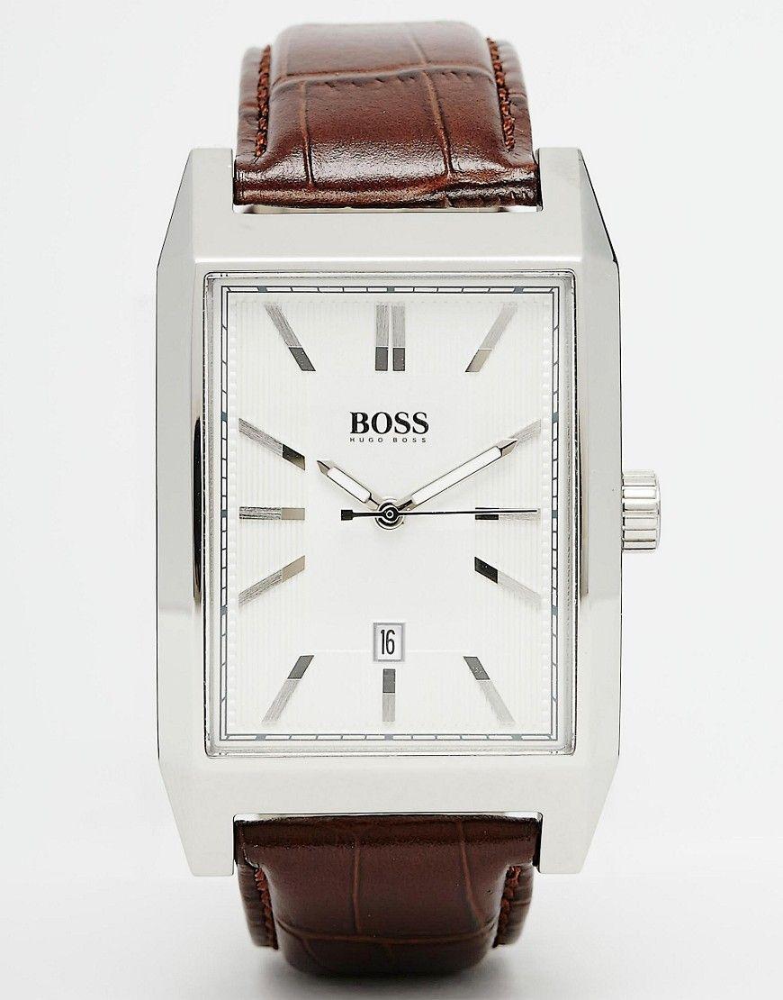 Bild 1 von Hugo Boss – 1512916 – Armbanduhr mit Lederband und eckigem Zifferblatt