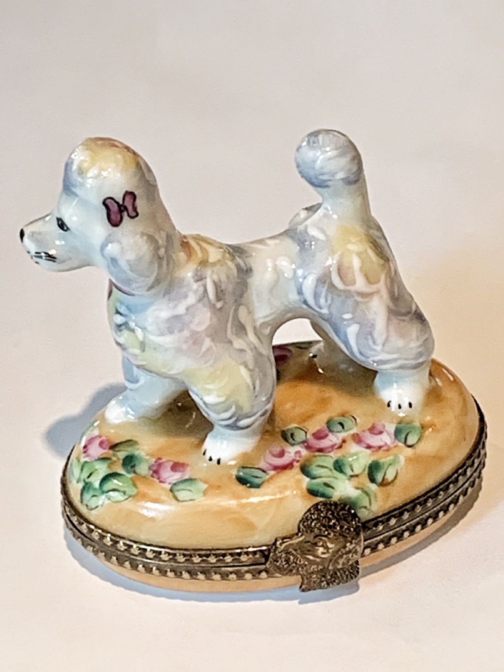 Excited to share this item from my #etsy shop: Limoges French Poodle Box on Floral Base...Retired! #whitepoodle #vintage #limogesfrance