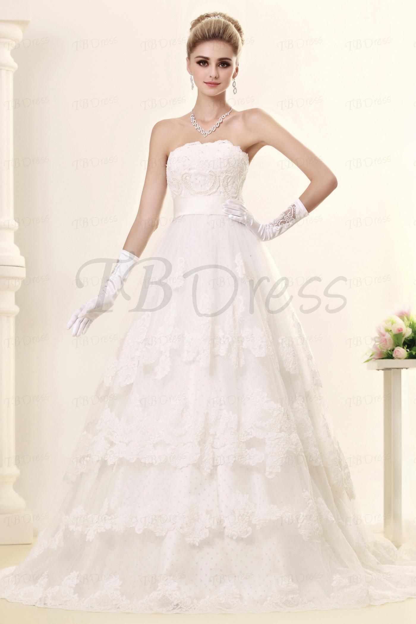 Aline strapless tiered appliques wedding dress with zipperup