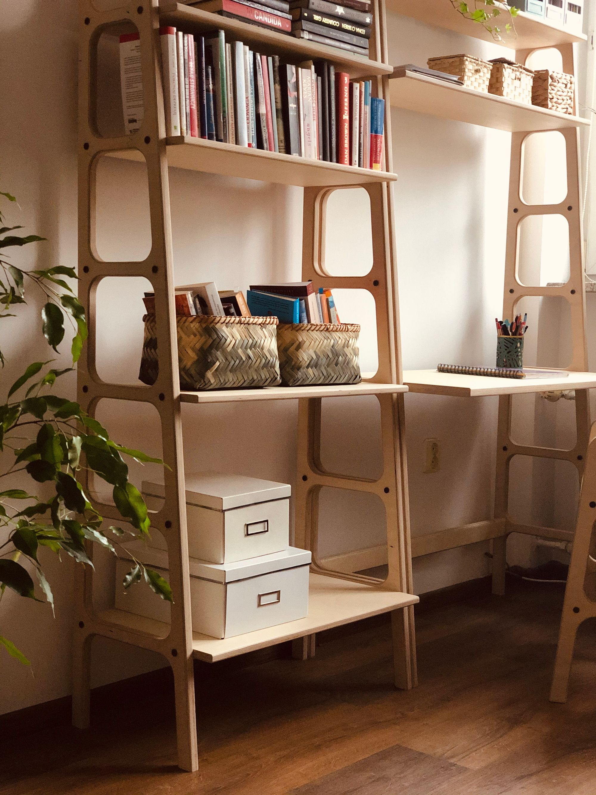 Scandinavian Bookcase And Desk With Shelves In 2020 Plywood Projects Furniture Living Room Designs