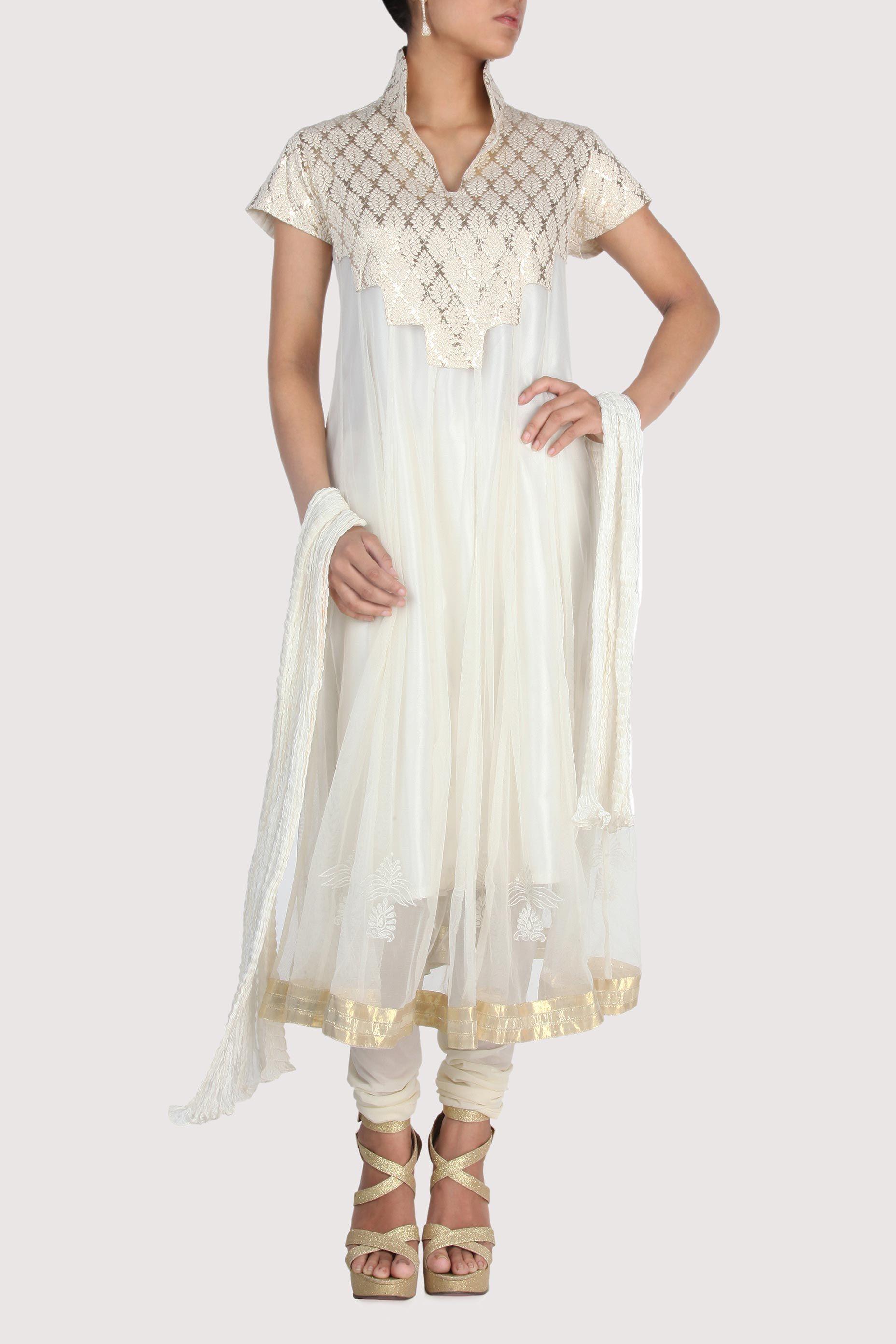 White anarkali with brocade yoke coming soon rina dhaka