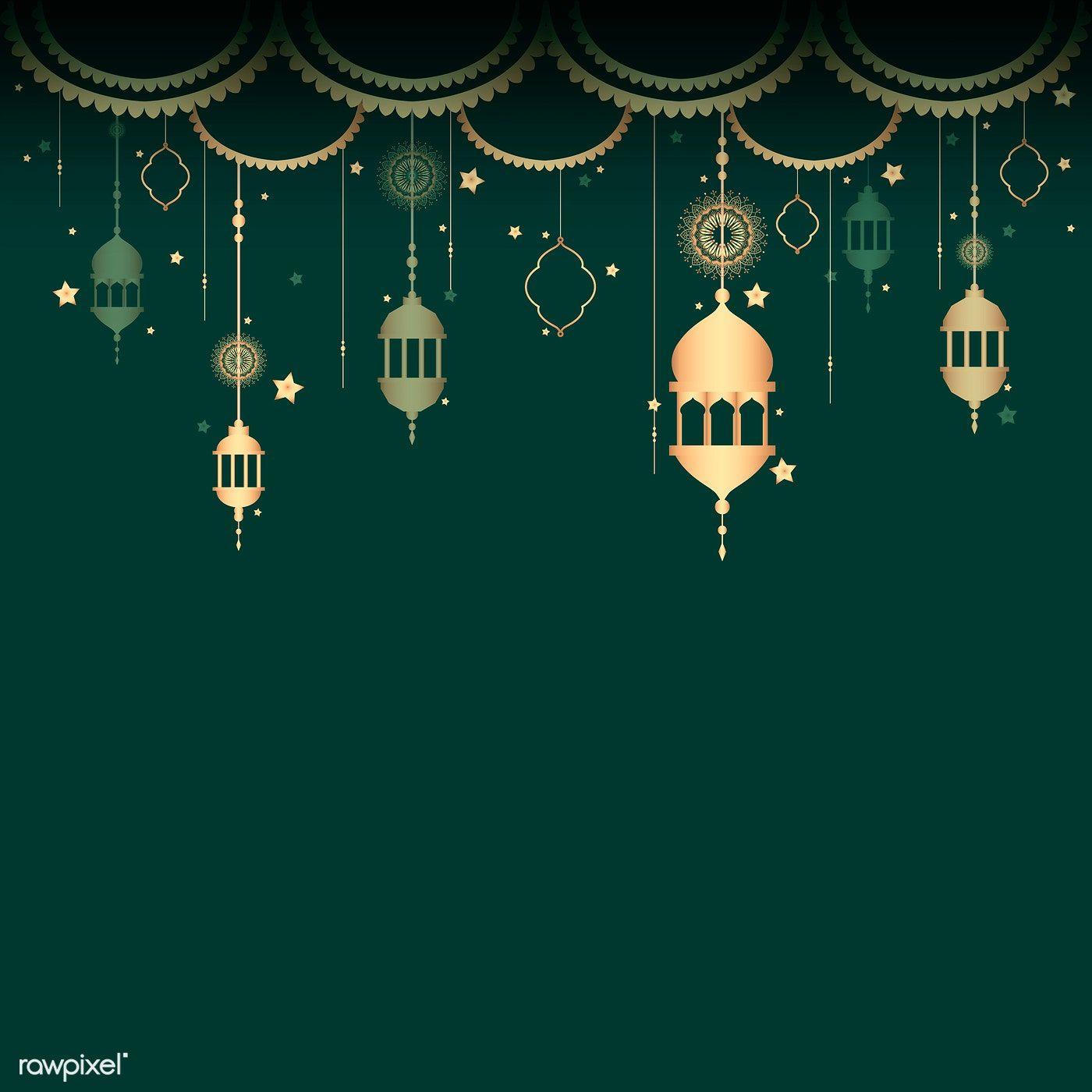 Download Premium Vector Of Lantern Pattern A Blank Green Background 555646 Wallpaper Ramadhan Poster Background Design Space Illustration