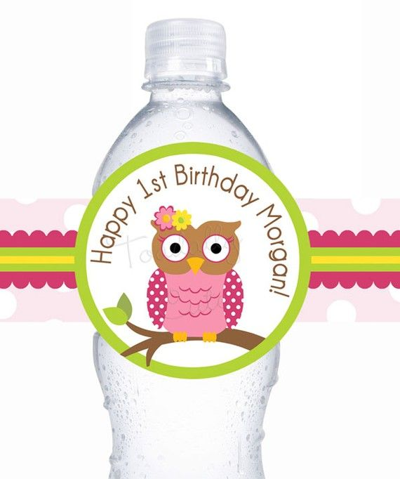 Owl birthday water labels