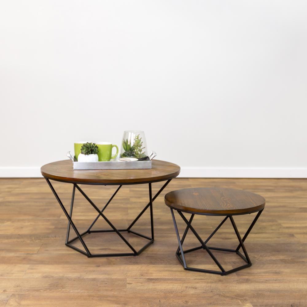 Walker Edison Furniture Company Geometric Wood Nesting Oak And
