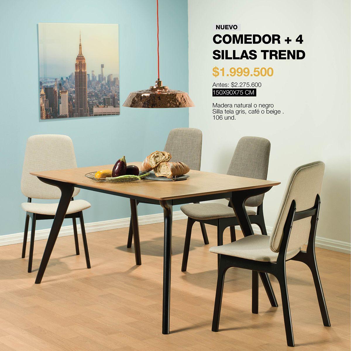 Comedor y sillas #Trend: Diseñado en madera natural o negro con ...
