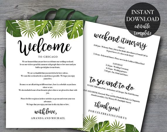 Tropical Wedding Weekend Itinerary template | Wedding welcome letter ...