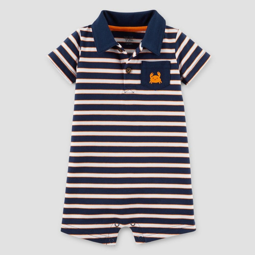 443757663 Just One You Made by Carter s Baby Boys  Crab Romper - Navy Stripe ...