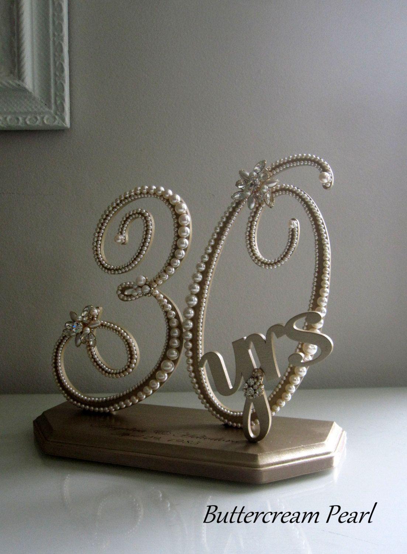 Wedding Anniversary Display 30th, 50th, Vintage Ivory