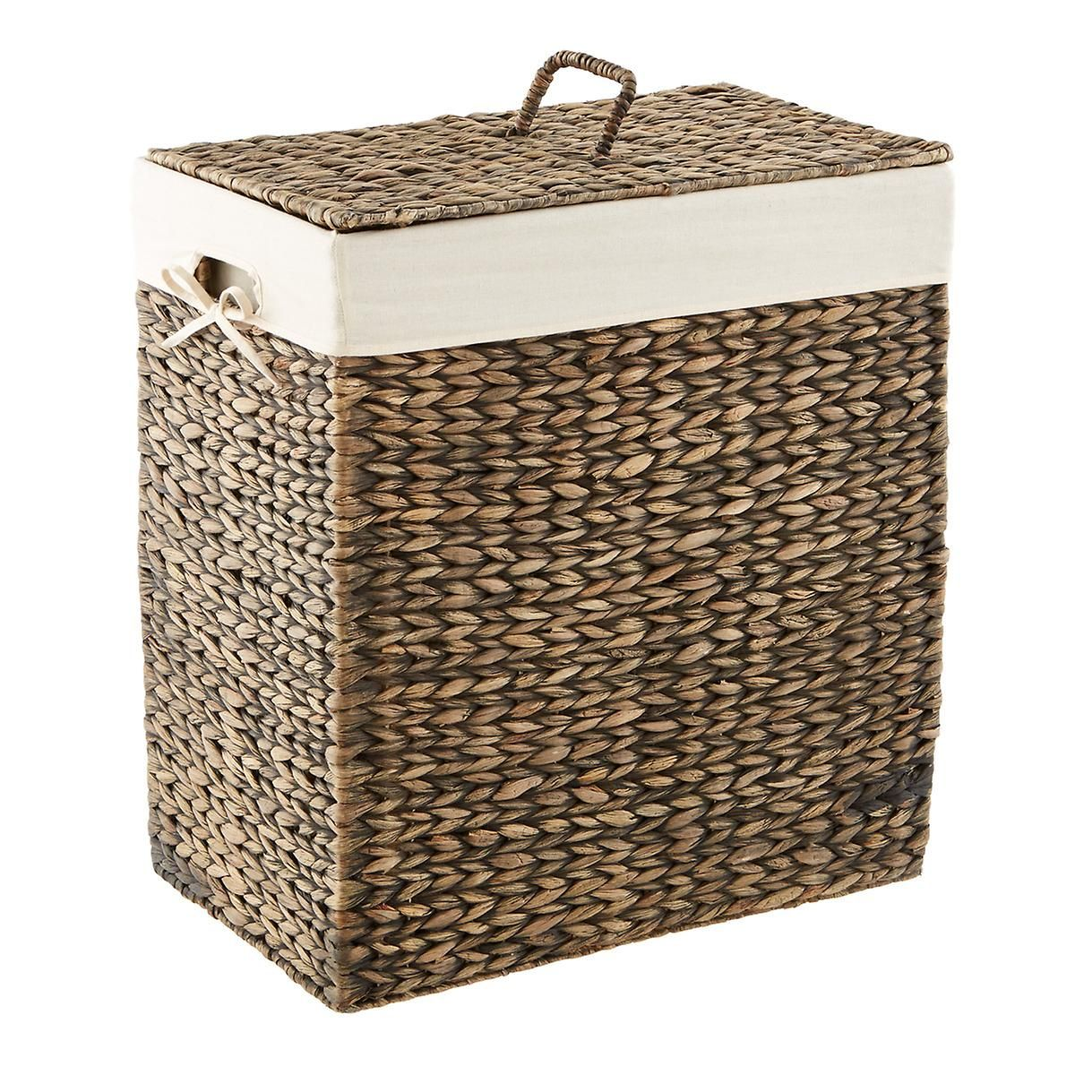 Mocha Rectangular Water Hyacinth Hamper The Container Store