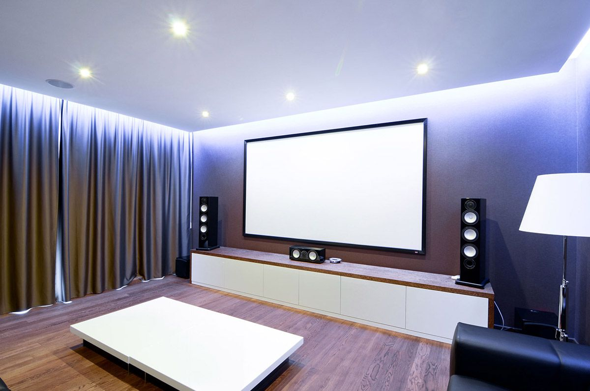 Home Cinema, Media Room, These curtain panels to cover the walls ...