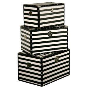 Black & White Stripe Storage Trunks