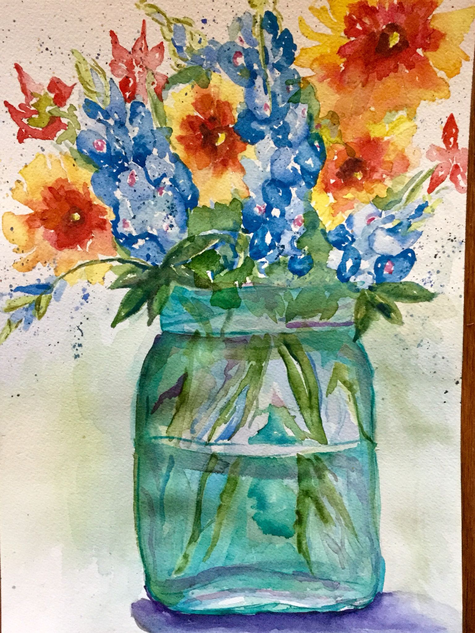Watercolor artists in texas -  Wild Thangs In A Jar By Texas Watercolor Artist Karen Scherrer