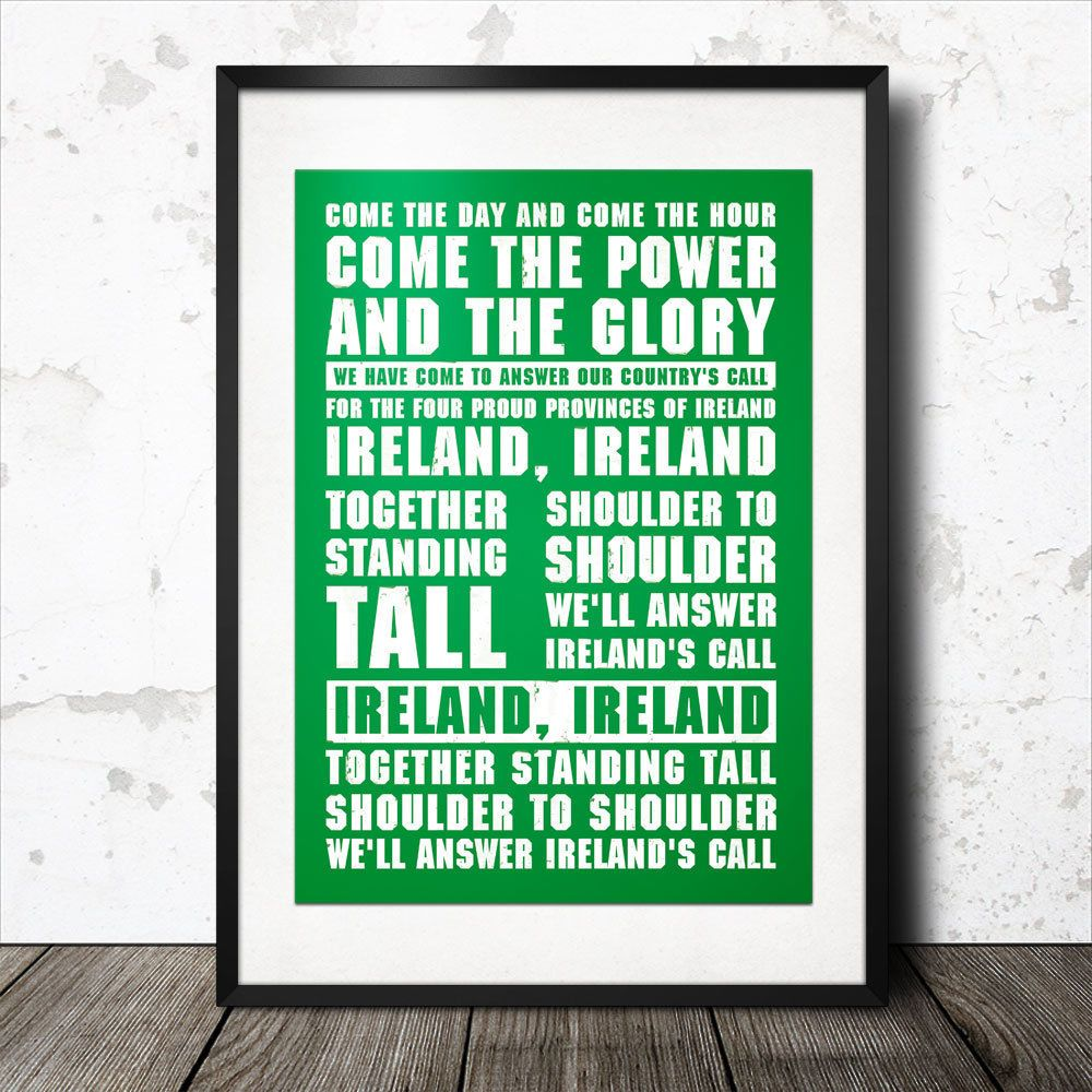 ireland rugby song lyrics poster anthem irish ireland's