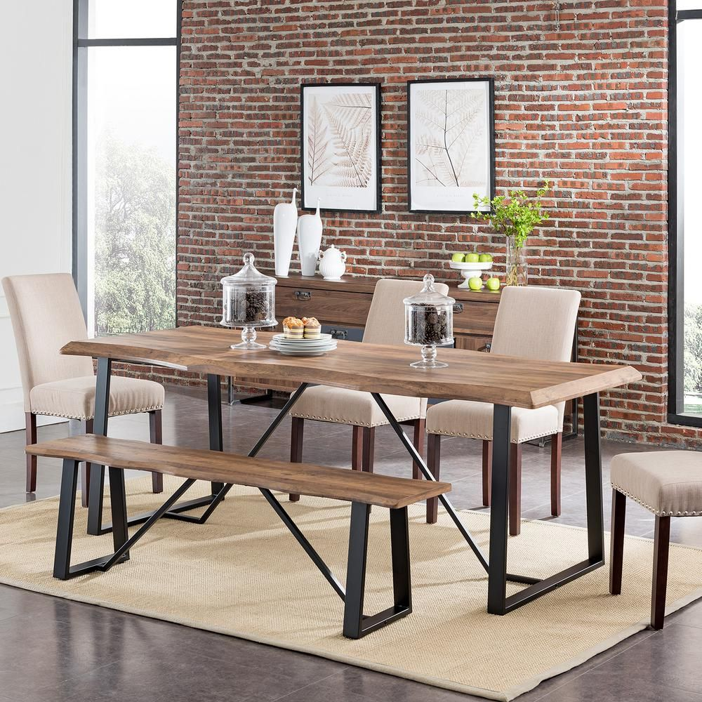 Southern Enterprises Colorado Natural Finish Faux Live Edge Dining Table Hd530949 Dining Table Metal Base Dining Table Metal Dining Table
