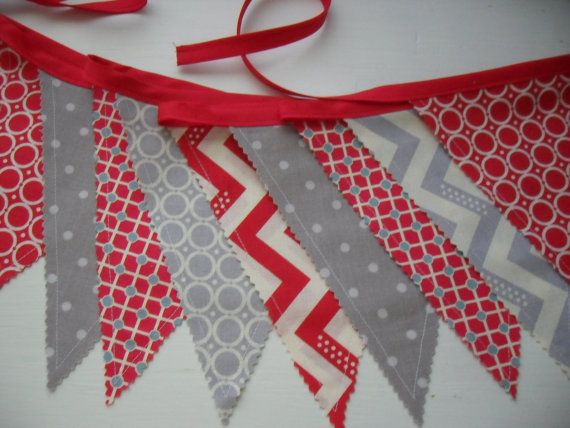 Scarlet Red and Medium Grey Bunting Banner Red by chictreasures, $24.00