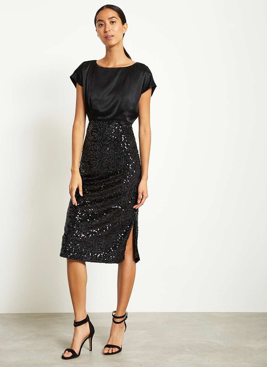 a5df88eec49 Black Velvet Sequin Prom Dress