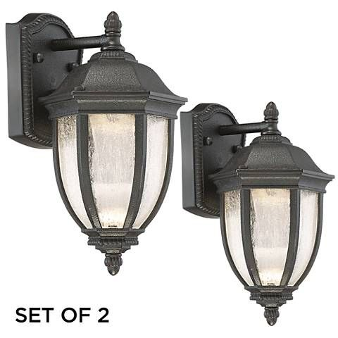 Set Of 2 Millstone 12 High Charcoal Led Outdoor Wall Light 9k886 Lamps Plus Led Outdoor Wall Lights Wall Lights Outdoor Wall Lighting Solar powered outdoor wall lighting