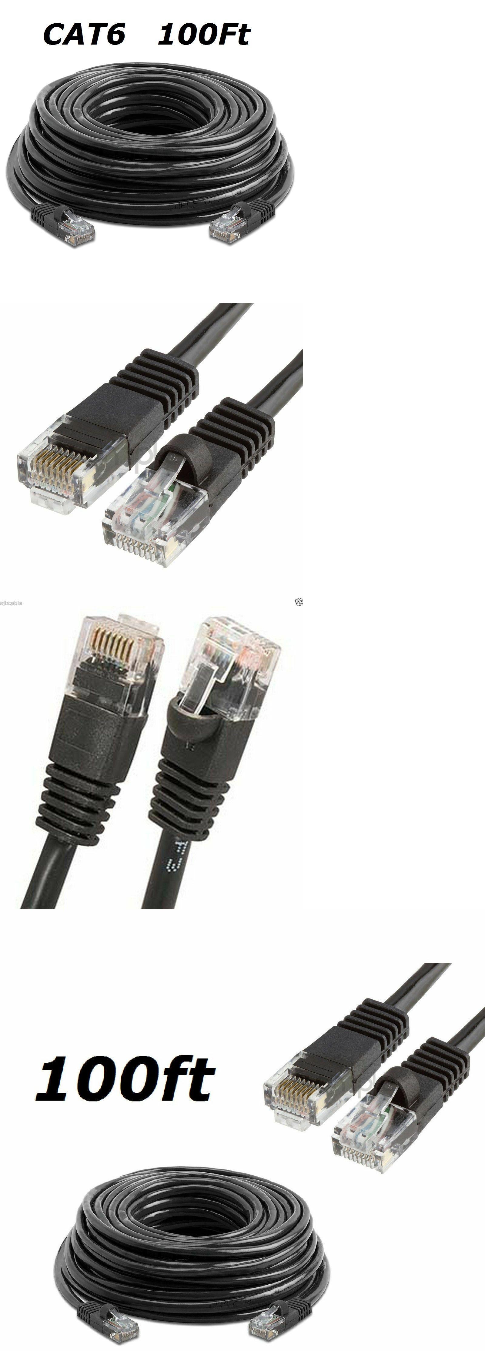 Cat6 100 Ft Black Rj45 Cat6 Ethernet Lan Network Cable