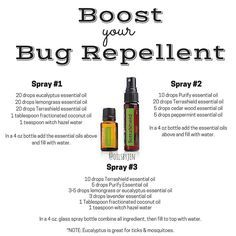 "It's that time of year! doTERRA has a bug repellent called TERRASHIELD. It is an AMAZING product but sometimes people want more of a ""kick"" to their Terrashield and are looking for more recipes. Here are some very simple & great recipes to make your own homemade bug spray. The main ingredient you will need are essential oils. There are a few different recipe options below. The best essential oils to use for insect & pest repellant are citronella, lavender, peppermint, cedar wood, lemon..."