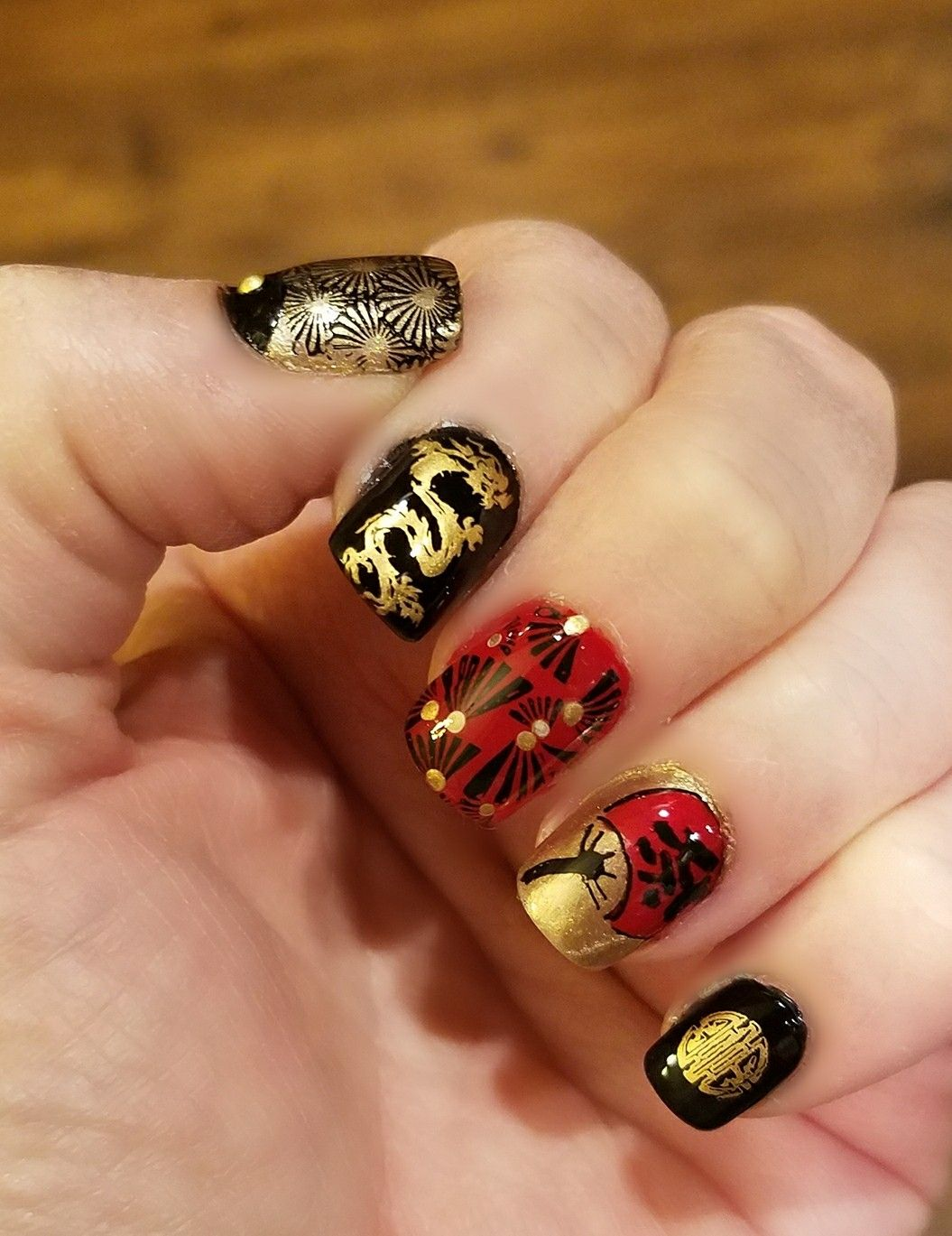 Asian inspired nail art. Chinese New Years. Red, Black