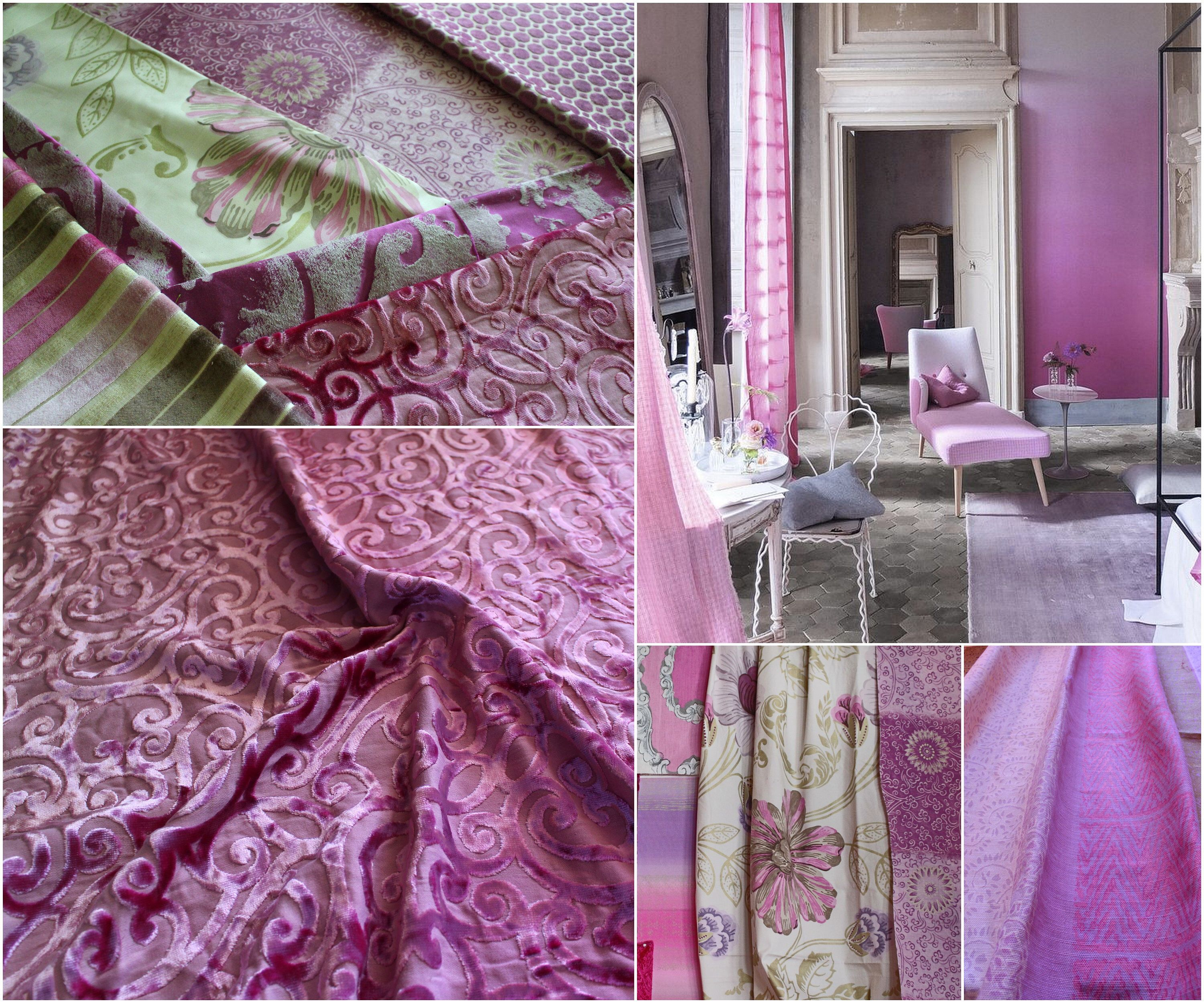 "Designers Guild, ""Rochester"" Pink Velvet Cut Upholstery Fabric, From Jane Hall Design"