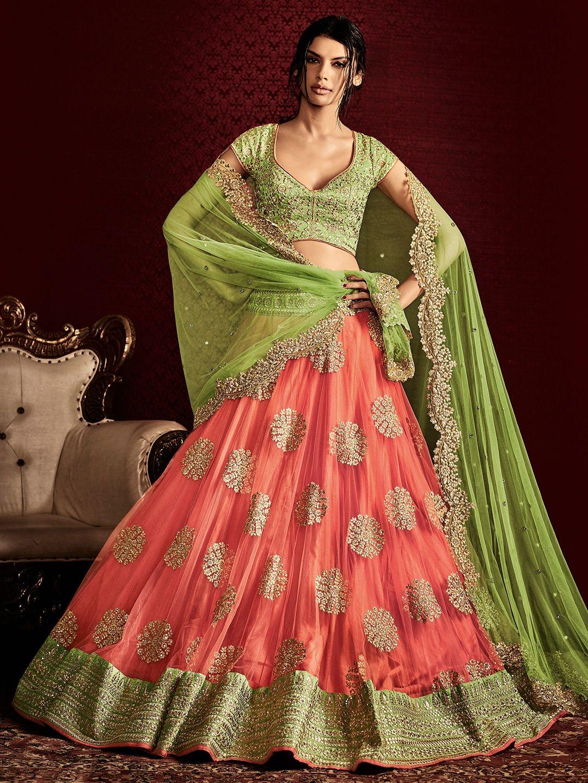 2064c0dfd7a5 Peach Net Designer Lehenga Choli | Women's Fashion | Indian dresses ...