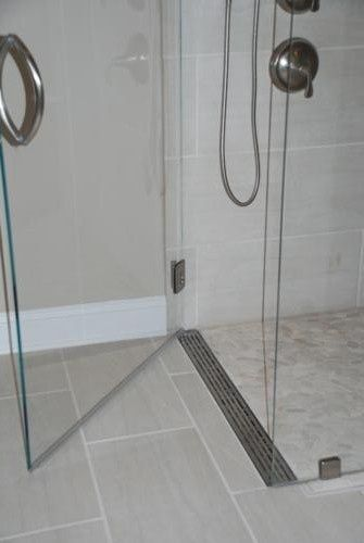 Shower Pan Curbless Shower With A Linear Drain At The Door By
