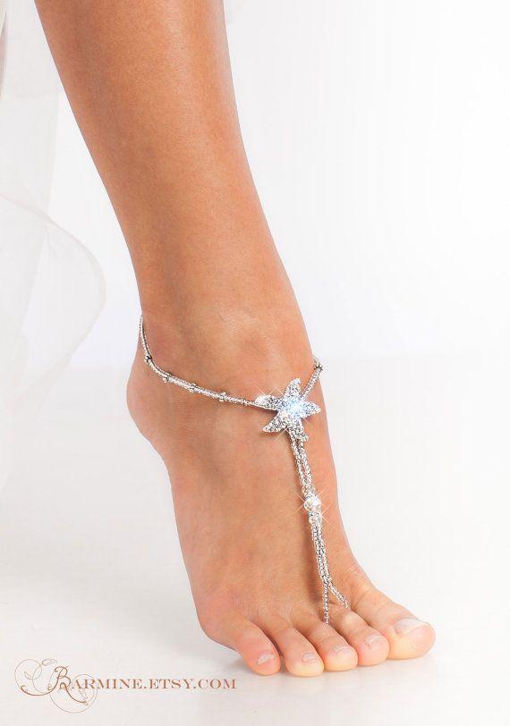 Starfish Foot Jewelry Silver Beaded Barefoot Sandals Bridal Accessory Beach Wedding