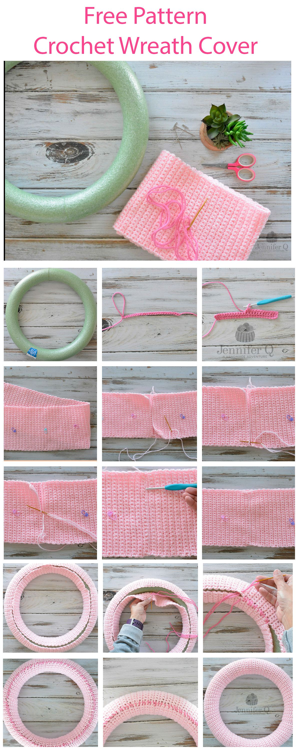 Photo of Free easy Crochet Wreath Cover available in English and Spanish.