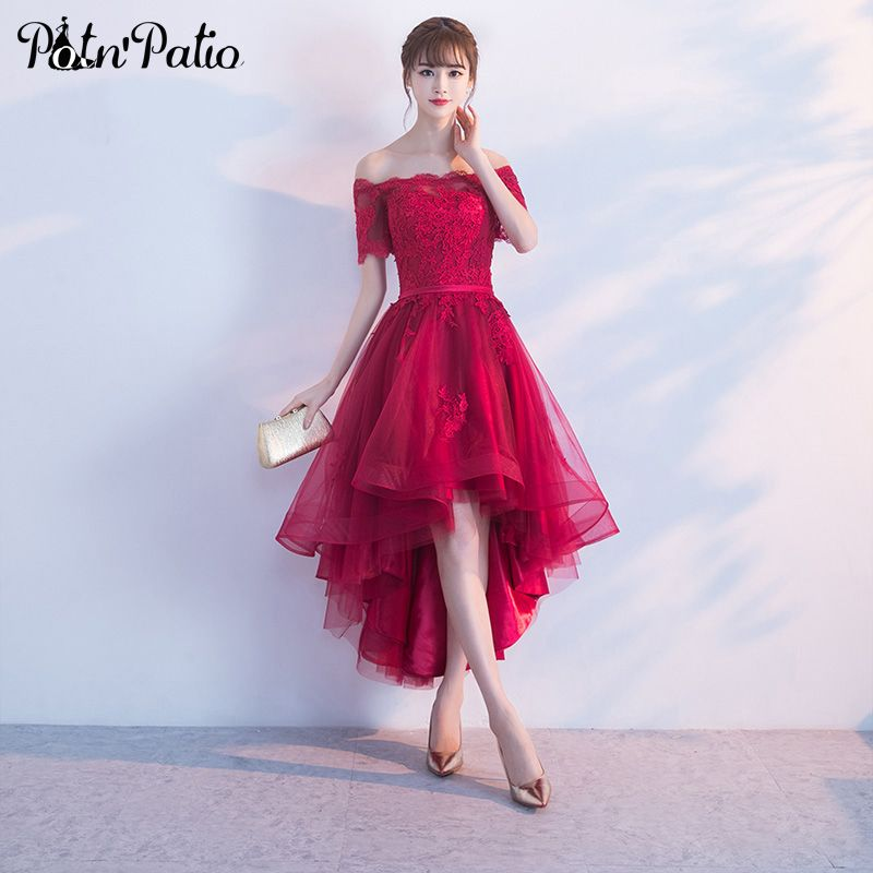 1c6073fa4002 PotN Patio Short Cap Sleeves Off Shoulder Prom Dresses 2017 Lace Appliques  Tulle Wine Red Prom Dresses High Low  Affiliate