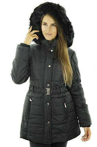 Sportoli Womens Longer Length Belted Winter Puffer Coat With Plush Lined Hood Black 3x Check Out The Image By V Winter Puffer Coat Coat Fashion Puffer Coat